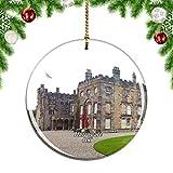 Weekino Reino Unido Inglaterra Ripley Castle and Gardens Harrogate Decoración de Navidad Árbol de Navidad Adorno Colgante Ciudad Viaje Colección de Recuerdos Porcelana 2.85 Pulgadas
