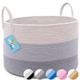 OrganiHaus XXL Cotton Rope Basket   Wide 20' x 13.3' Blanket Storage Basket with Long Handles   Decorative Clothes Hamper Basket   Extra Large Baskets for Blankets Pillows or Laundry (Gray)