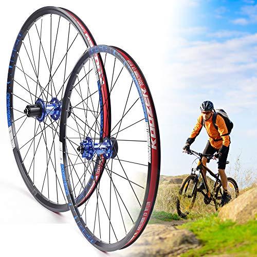 Gdrasuya10 MTB Alloy Wheels 26inch 650B Aluminium Mountain Clincher Bike Wheelset (Black and Blue)