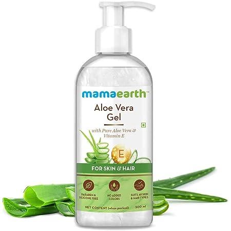 Mamaearth Aloe Vera Gel For Face, with Pure Aloe Vera & Vitamin E for Skin and Hair - 300ml