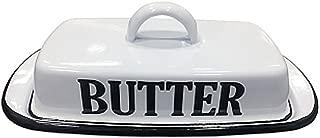 VIP- Vintage Farmhouse Style Enamel Butter Dish, White and Black