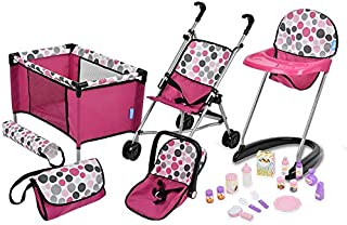 21Piece Doll Care Set with Stroller, High Chair, Play Yd & More