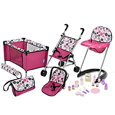 21Piece Doll Care Set with Stroller, High Chair,...