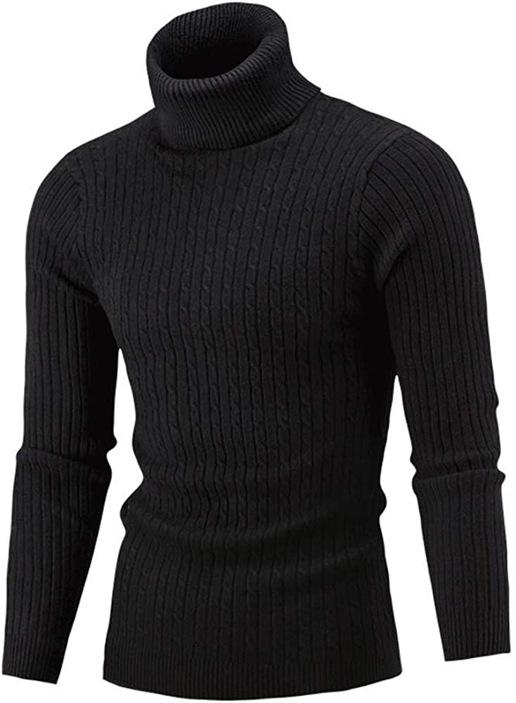 MODOQO Men's Turtleneck Sweater Long Sleeve Warm Soft Knitted Pullover