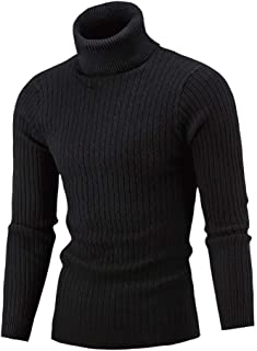 YANYUN Men Sweaters Fashion Turtleneck Winter Warm Slim Fit Plain Casual Long Sleeve Stretch Knitted Pullover Sweaters 5XL