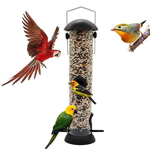 Comedero para pájaros con 4 puertos, comederos para pájaros con suspensión de acero, resistente a la intemperie, ideal para atraer pájaros al aire libre, jardín, patio, 1 paquete