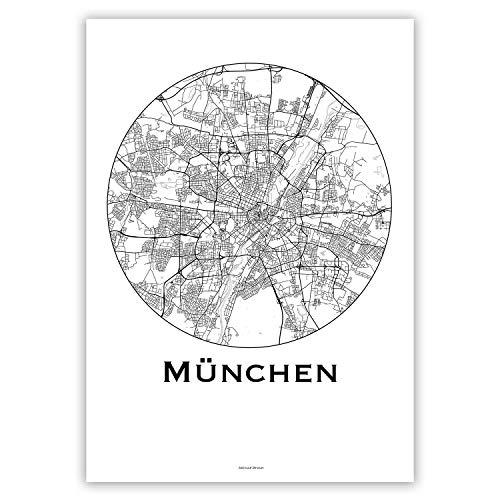 Plakat München Deutschland Minimalist Map - Poster, City Map, Dekoration, Geschenk