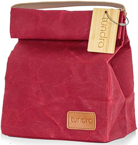 Waxed Canvas Lunch Bag by Tundra Re usable Stylish Tote for Men and Women Insulated to Keep product image