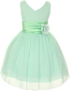 Little Girls Mint Yoru Chiffon Double V-neck Flower Girl Easter Dress