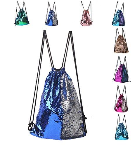 cool nik Drawstring Gym Sport Bag,Portable Sequin Drawstring Bag Backpack for Sports Outdoor Travel Pack (Blue)
