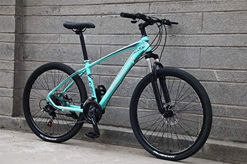 Pliuyb Aluminum Mountain Bike 24 and 26 Inch Mountain Bicycle Student Bicycle Variable Speed ​​Bike Double Disc Brake Mountain Bike (Color : 24 inch Green, Size : 24 Speed)