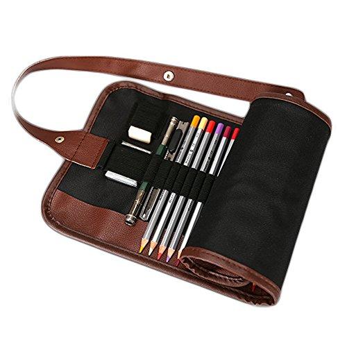 72 Bleistift Wrap, DUBENS Tragbar Federmäppchen Reise Stiftehalter Buntstifte Organizer Roll-up Mäppchen Tasche, Federmappe Schlamperrolle Mäppchen Bleistiftkasten