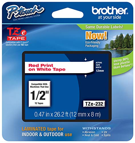 """Brother Genuine P-Touch TZE-232 Tape, 1/2"""" (0.47 mm) Standard Laminated P-Touch Tape, Red on White Laminated for Indoor or Outdoor Use, Water-Resistant 26.2 ft (8m), Single-Pack"""
