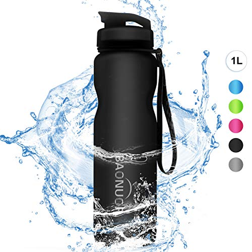 BAONUOR Sport Trinkflaschen 1L, [BPA Frei ] Tritan Wasserflasche Auslaufsicher Sportflasche für Kinder, Schule, Gym, Fitness, Fahrrad,Outdoor, Schwarz