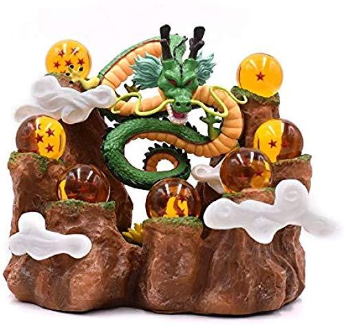 LOVEMLQL Anime Dragon Ball Z Shenron Shenlong + Bergständer + 7 Kristallkugeln Dragonball PVC Spielzeug Actionfigur Modell Puppe