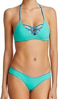 LSpace 2 Piece Bikini Set - Reversible JoJo Strappy Cross Front Bralette Swimsuit Top & Sandy Hipster Pant Large