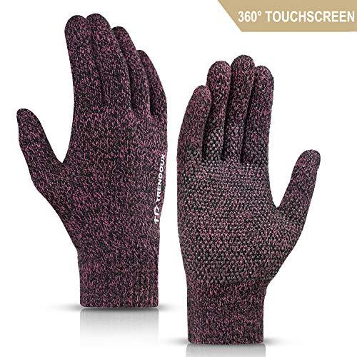 Handschuhe Damen Winter, TRENDOUX Warm Handschuhe Herren 360° Touchscreen Smartphone - Rutschfester Griff - Elastische Manschette - Wolle Gefüttert - Winddicht Warm Dünne Fäustling Für Reiten - Rose M