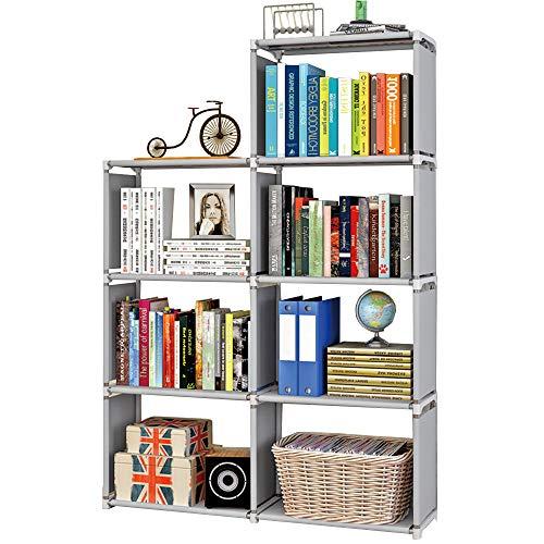 MOAMUN Würfelregal Bücherregal Regal mit 7 Fächer, Würfel Bücherschrank Standregal Organizer Akten Schrank für Wohnzimmer, Kinderzimmer, Bücher, Kleidung, Spielzeug Aufbewahrungsorganisator(Color1)
