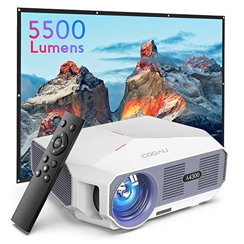 COOAU Beamer, Video-Heimprojektor, Native 720P Unterstützung, 1080P, 4600LM 4000:1 Kontrast HD Projektor mit 200