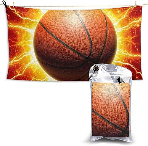Toallas De Playa Compactas Portátiles De Microfibra Lightning Basketball Toalla Súper Liviana De Secado Rápido Adecuado para Niños Y Adultos del Hogar 27.5X55 Pulgadas