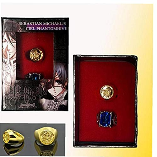 Bontand 2st Black Butler Ciel Phantomhive Ring Set Cosplay Props Blau Goldene Kristall Paare Ring