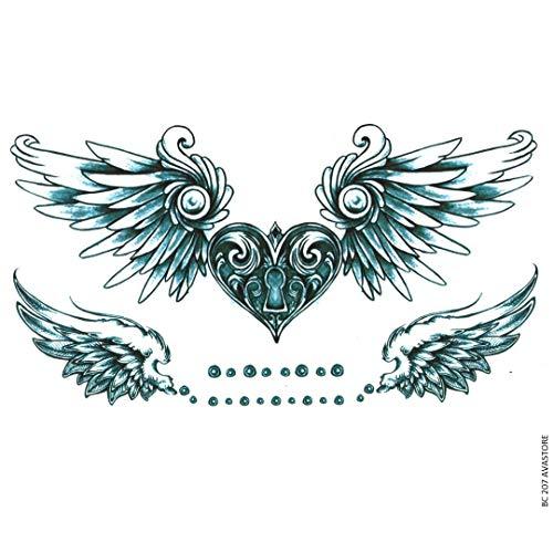 Tatouage Temporaire Femme Cœur Ailes d'Ange Bleu Tatouage Éphémère Femme Cœur Ailes d'Ange AVASTORE