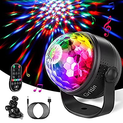 Gritin Disco Lights, Sound Activated Disco Ball Party Lights-15 RGBP Color Changing with Remote Control, Light Mode&Speed Adjustable - 4M Cable Included - 360° Rotation for Kids Birthday, Party etc.