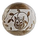 Figura Decorativa DKD Home Decor Esfera Búho Madera de Mango (13 x 13 x 13 cm)
