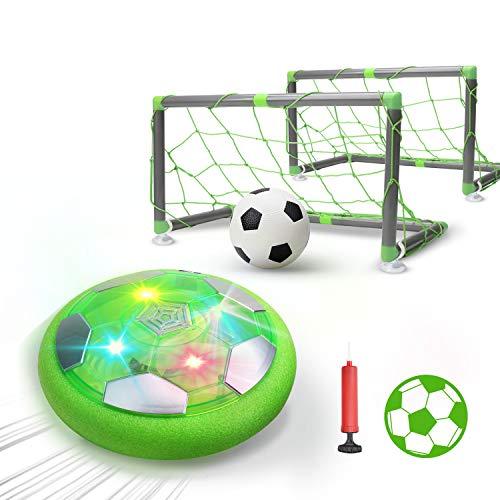DEERC おもちゃ エアーサッカー ホバーサッカー ゴール付き 充電式 室内ゲーム ボールセット サッカー LEDライト付き 浮力 スポーツ 空気の力で浮く 室内サッカーおもちゃ ギフト 親子ゲーム 子供 6歳以上 男の子 女の子 ギフト クリスマス 誕生日プレゼントKD002(緑)