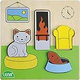Lena salón, Infantil Base de 14 x 14 cm y 4, Piezas y Placa FSC 100% Madera, Puzzle Partir de 18 Meses, Juego para niños pequeños, Color carbón (SIMM Spielwaren 32142)