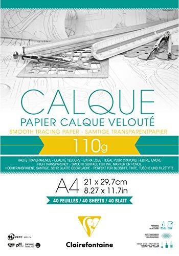 Clairefontaine 975106C Block Transparentpapier (DIN A4, 21 x 29,7 cm, 40 Blatt, 110 g, ideal für technische Zeichnen) transparent