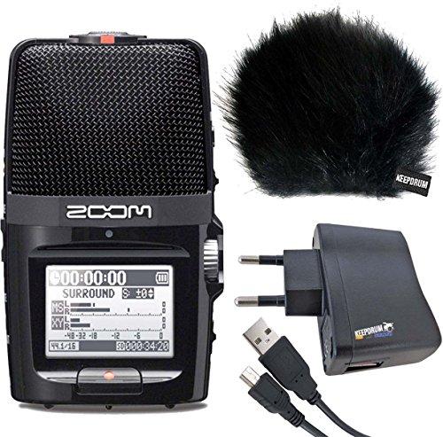 Zoom H2N Registratore Digitale KEEPDRUM protezione antivento WSBK + alimentatore di rete USB + cavo Mini USB/USB 1,5m