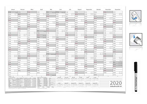 WANDKALENDER JAHRESKALENDER 2020, DIN A3 42,0 X 29,7 CM MIT FERIENANGABEN ABWISCHBAR GEROLLT GRAU MIT NON-PERMANENT MARKER