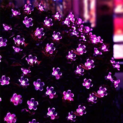 Flor Solar De Melocotón Lámpara Solar Potencia Led Luces De Hadas Guirnaldas Solares Jardín Decoración Navideña Para Exteriores 12 Metros 100Led Rosa