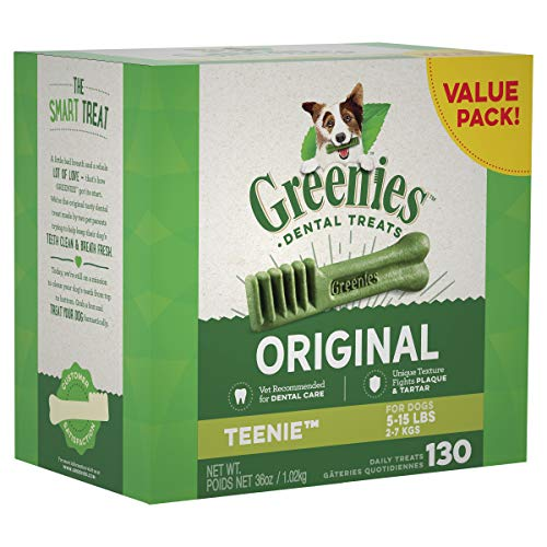 GREENIES Original TEENIE Natural Dog Dental Care Chews Oral Health Dog Treats 36 oz Pack 130 Treats