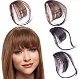 GKanMore 1Pcs Clip in Bangs Hair Extensions Human Hair Front Fringe Air Bangs with Temples Hair Pieces for Women (Light Brown)