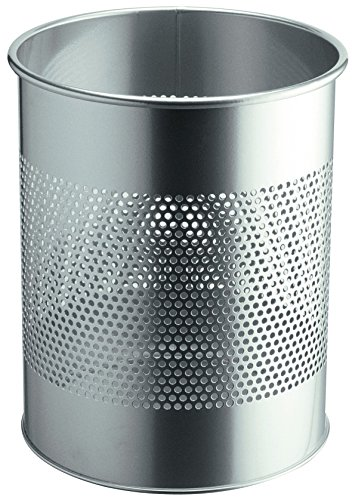 Durable 331023 Papierkorb Metall rund 15 Liter, Perforation 165 mm, silber