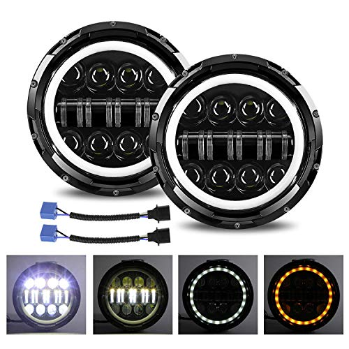 YUGUANG Coppia 7 'Lampada da lavoro a LED 1000W 60000LM 16 Lenti Angel Eyes 3000K+6000K Round Black Cree LED Lights Off Road LED Bar Light Cross DRL HI LO Beam per Wrangler JK TJ CJ LJ Hummber H1 H2