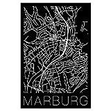 artboxONE Poster 75x50 cm Städte Retro Map of Marburg