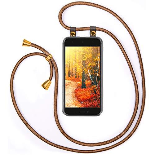 moex Cadena de teléfono compatible con Xiaomi Redmi Go, funda de silicona con correa, funda para teléfono móvil, funda transparente con cordón, intercambiable en dorado