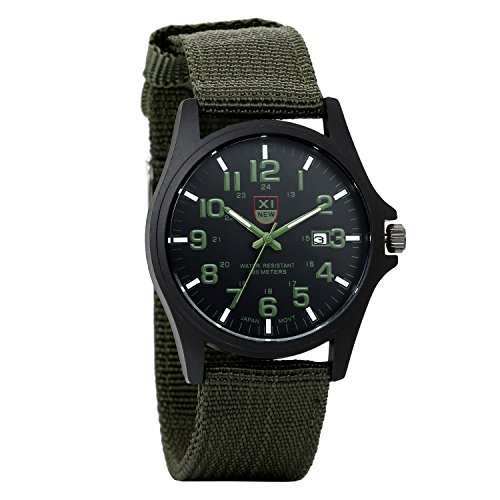 Reloj Militar para Hombre Movimiento de Cuarzo analógico con Pulsera de Nylon Calendario Negro Reloj Deportivo Avaner