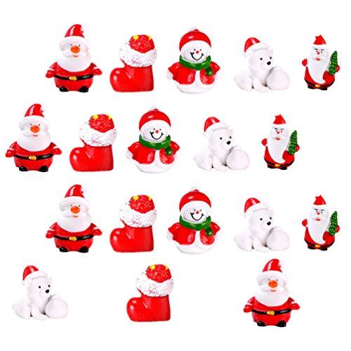 ABOOFAN 1 Juego 18 Piezas Figuras en Miniatura de Navidad Dibujos Animados Pequeños Santa Claus Muñeco de Nieve Oso Bota Estatua Juguete Escena Diseño Prop Micro Paisaje Accesorios para