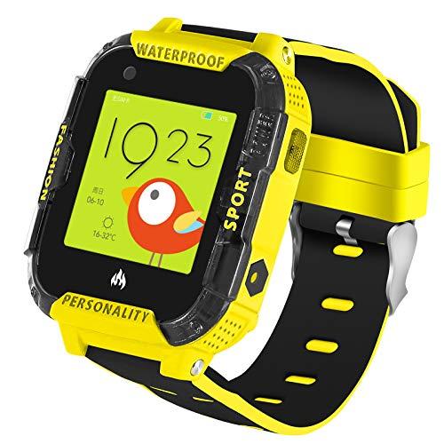 4G IP67 - Smartwatch per bambini, impermeabile, con funzione GPS anti-smarrimento, videochiamate, chiamate, SOS, Voice Chat, Pedometro, orologio per bambini o ragazzi (giallo)
