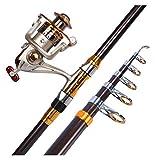 LHAHGLY Juego de cámaras de Pesca telescópica Kit de Aparejos de Pesca con roding Rod Reel Combos Línea Línea Hooks Travel Starter Profesional Conjunto Completo Suministros de Pesca cañas de Pescar