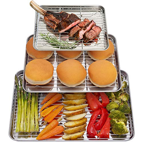 Baking Sheet With Wire Rack Set Cookie Sheet Pan Insert For Oven Cooling Grill Nonstick 1/2 Half Sheet Bacon Stainless Steel // Willow & Eva