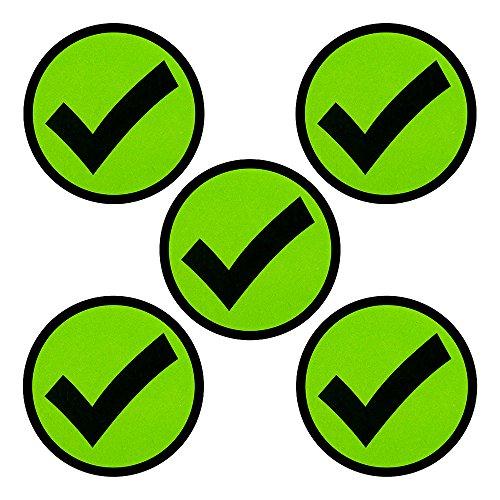 Imanes con un Símbolo de Verificación - Juego de 5 imanes - Diámetro 5 cm - Para pizarras blancas y refrigeradores