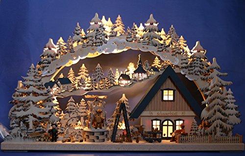 3D LED Schwibbogen handbemalt mit elektrischer Pyramide Handarbeit aus dem Erzgebirge 72x43cm