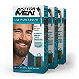 Just For Men Mustache & Beard, Beard Coloring for Gray Hair with Brush Included - Color: Medium-Dark Brown, M-40 (Pack of 3)