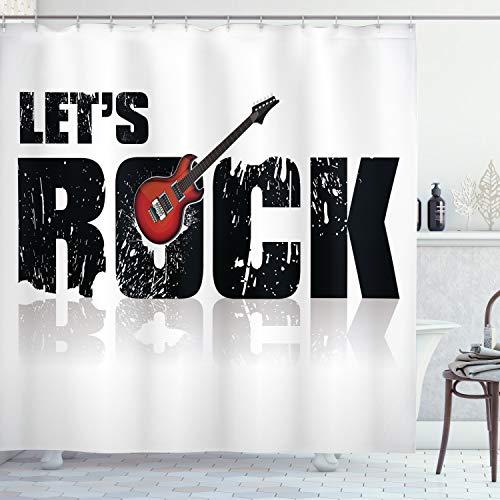 ABAKUHAUS Gitarre Duschvorhang, Lass Uns Rock Grunge Spaß, mit 12 Ringe Set Wasserdicht Stielvoll Modern Farbfest & Schimmel Resistent, 175x220 cm, Weiß Schwarz Rubin