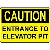 Caution Entrance Elevator Pit Black On Yellow 金属板ブリキ看板警告サイン注意サイン表示パネル情報サイン金属安全サイン